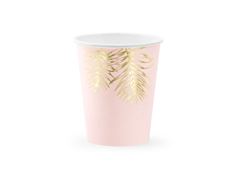 Paper cups Leaves - pink, 220 ml, 6 pcs.