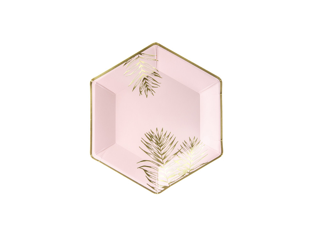 Paper plates Leaves - pink and gold, 6 pcs.