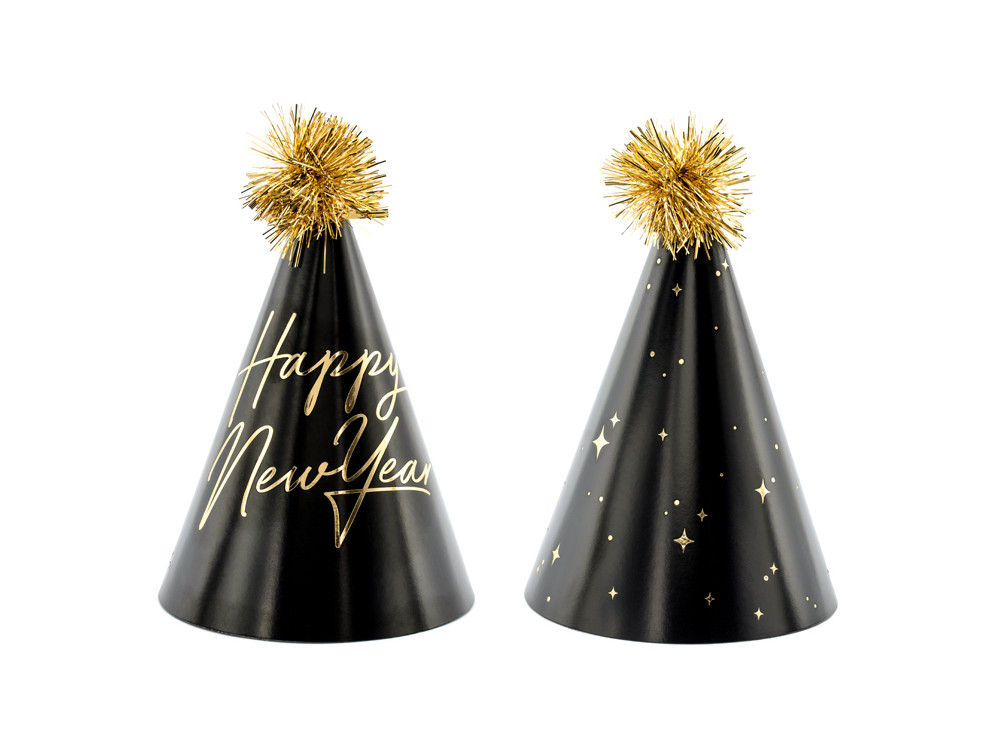 Happy New Year party hat - black and gold, 6 pcs.