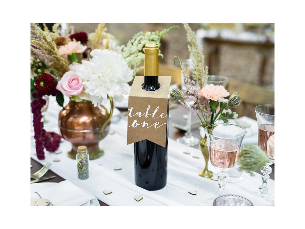 Bottles hangers, table numbers - kraft, 10 pcs.