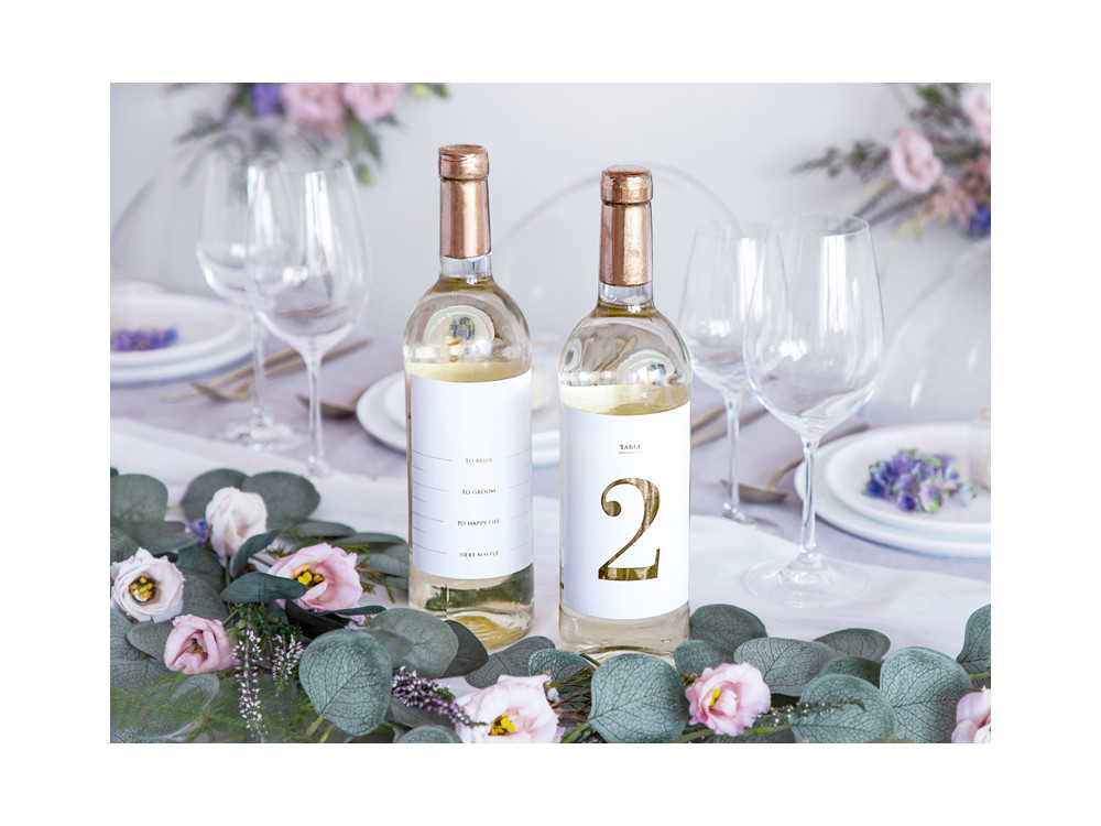 Bottles stickers, table numbers - white and gold, 30 pcs.