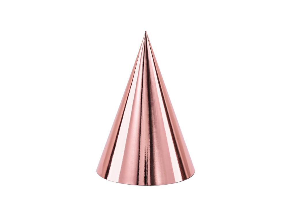 Party hats - rose gold, 6 pcs.