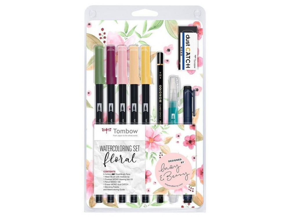 Dual Brush Pen Watercolor Set - Tombow - Floral, 11 pcs.