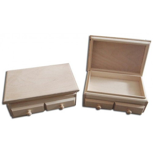 Szkatułka drewniana z 2 szufladkami