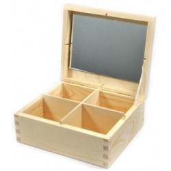 Wooden Container, 4 Compartments