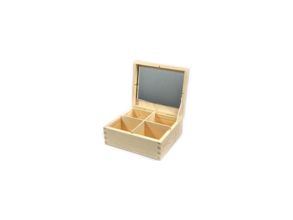 Drewniany pojemnik z lustrem - 4 przegrody