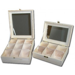 Drewniany pojemnik z lustrem - 6 przegród