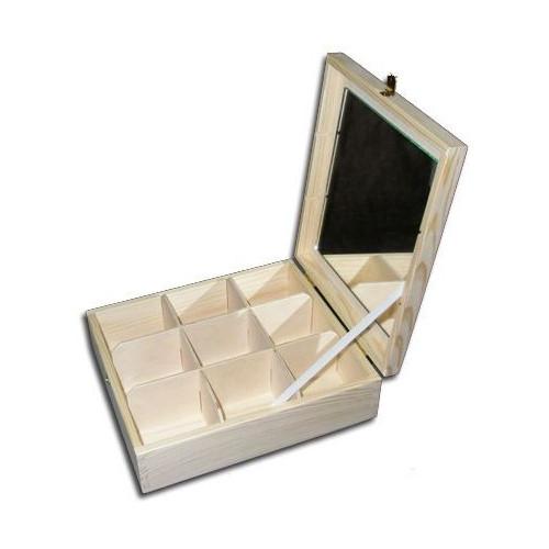 Drewniany pojemnik z lustrem 9 przegród