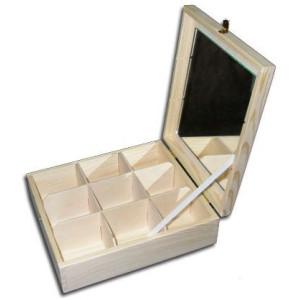 Pojemnik z lustrem 9 przegród drewno DECOUPAGE