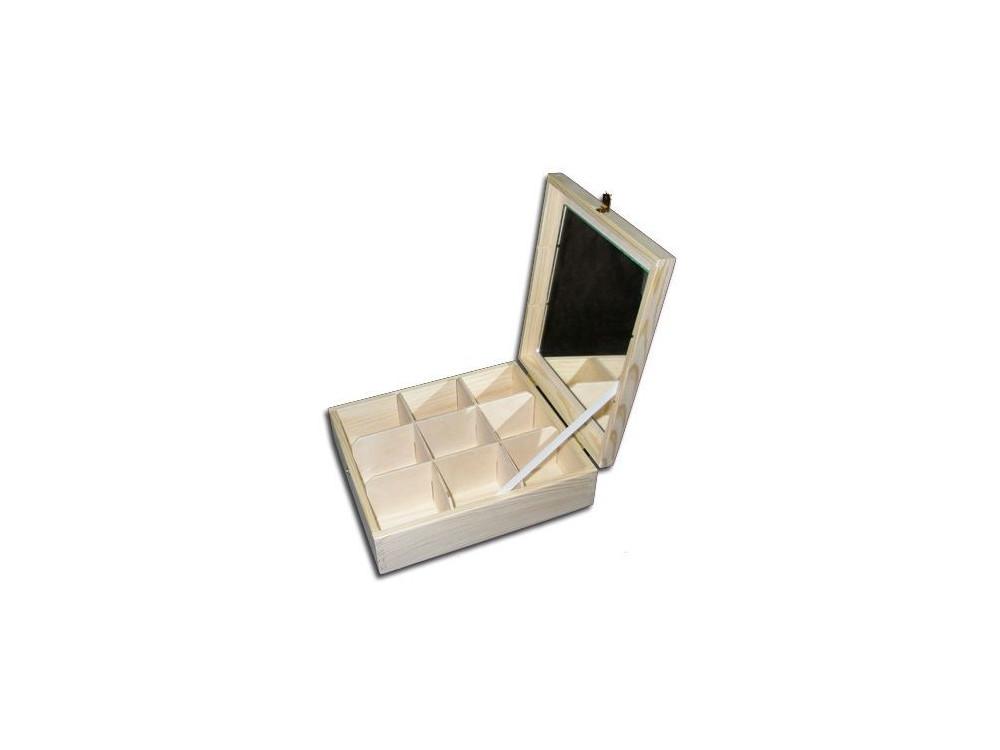 Drewniany pojemnik z lustrem - 9 przegród