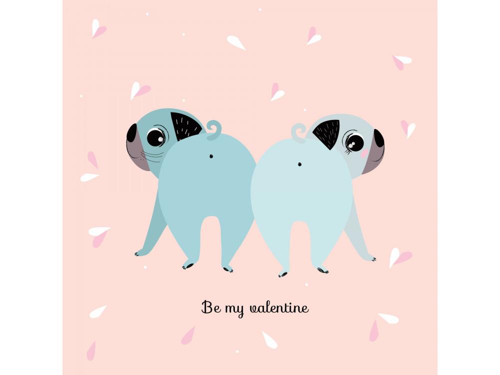 Greeting card - Pieskot - Be My Valentine, 14,5 x 14,5 cm