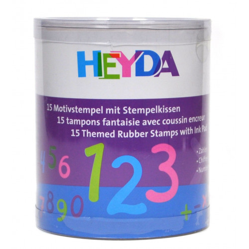 Stamp set - Heyda - numbers, 15 pcs.