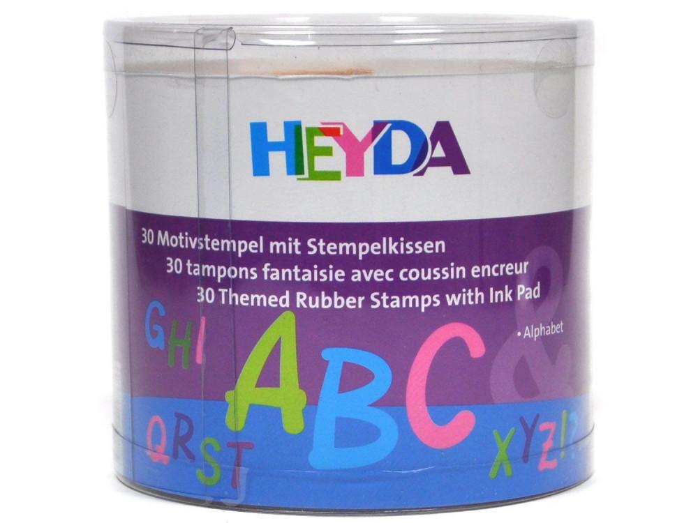 Zestaw stempli - Heyda - litery, alfabet, 30 szt.