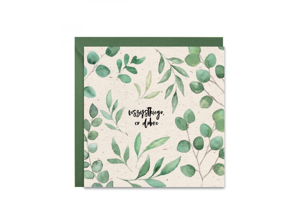Greeting card - Paperwords - Eucalyptus, 14 x 14 cm