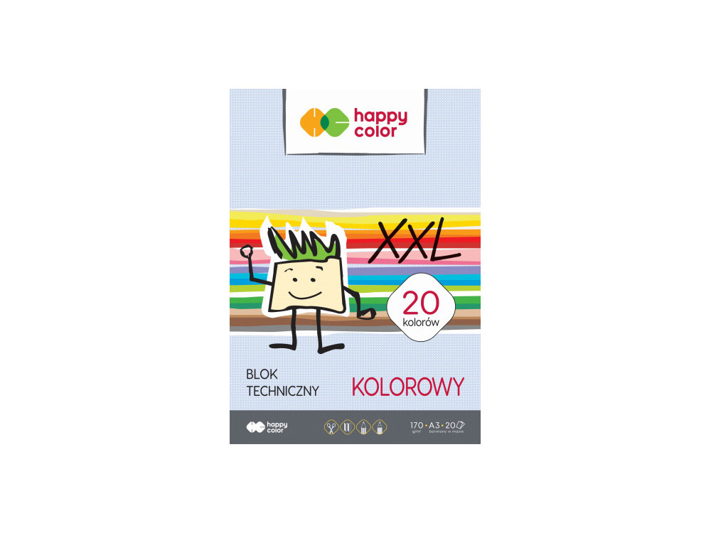Colored XXL drawing pad A3 - Happy Color - 170 g, 20 sheets