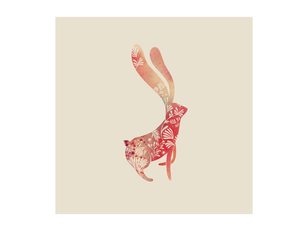 Greeting card - Pieskot - Imaginary Rabbit, 14,5 x 14,5 cm