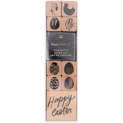 Wooden stamp set - Paper Poetry - Happy Easter, 9 pcs.