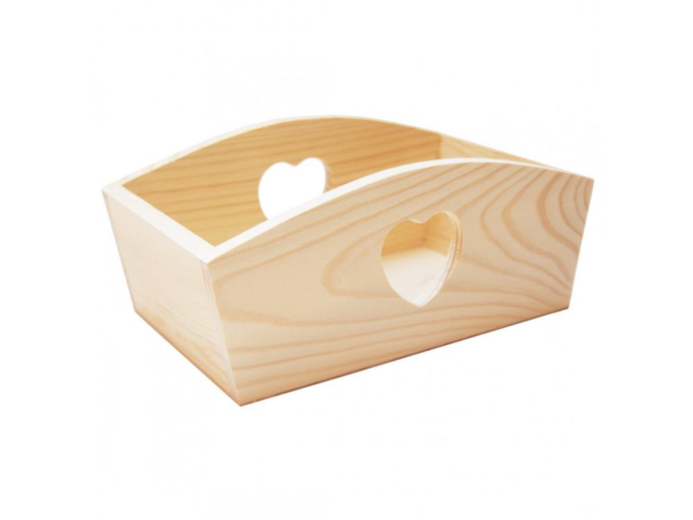 Pojemnik drewniany z sercem - 24,5 x 13 x 10 cm