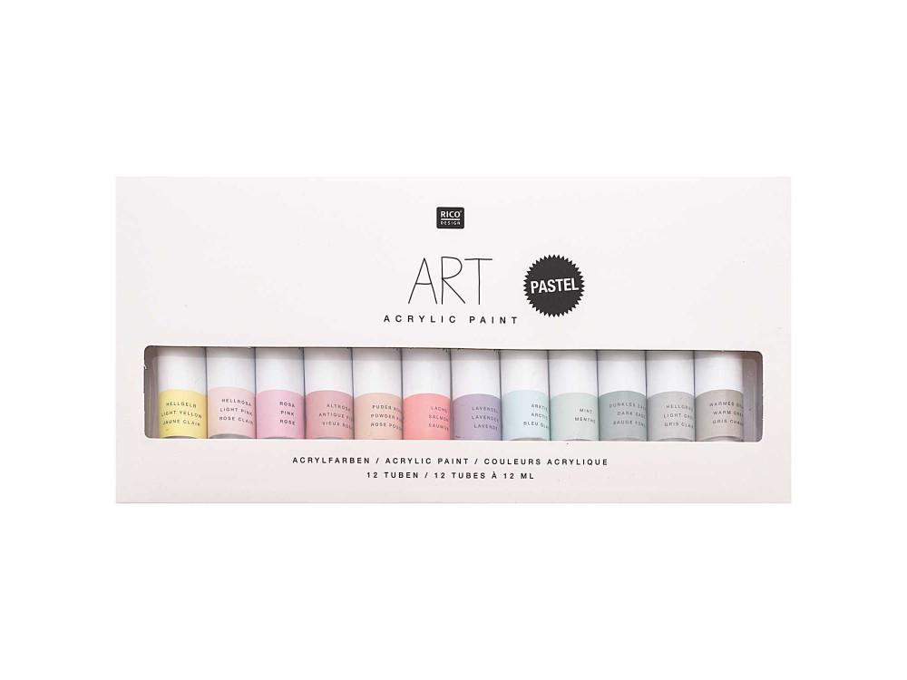 Set of acrylic paints Art Pastel - Rico Design - 12 pastel colors