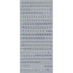 Stickersy, naklejki ażurowe - Alfabet, duże litery, srebrne