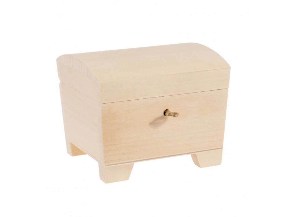 Kuferek drewniany z kluczykiem - 15 x 11 x 9,5 cm