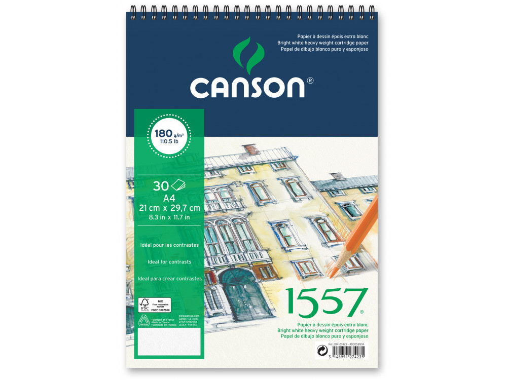 Drawing spiral paper pad 1557, A4 - Canson - 180 g, 30 sheets