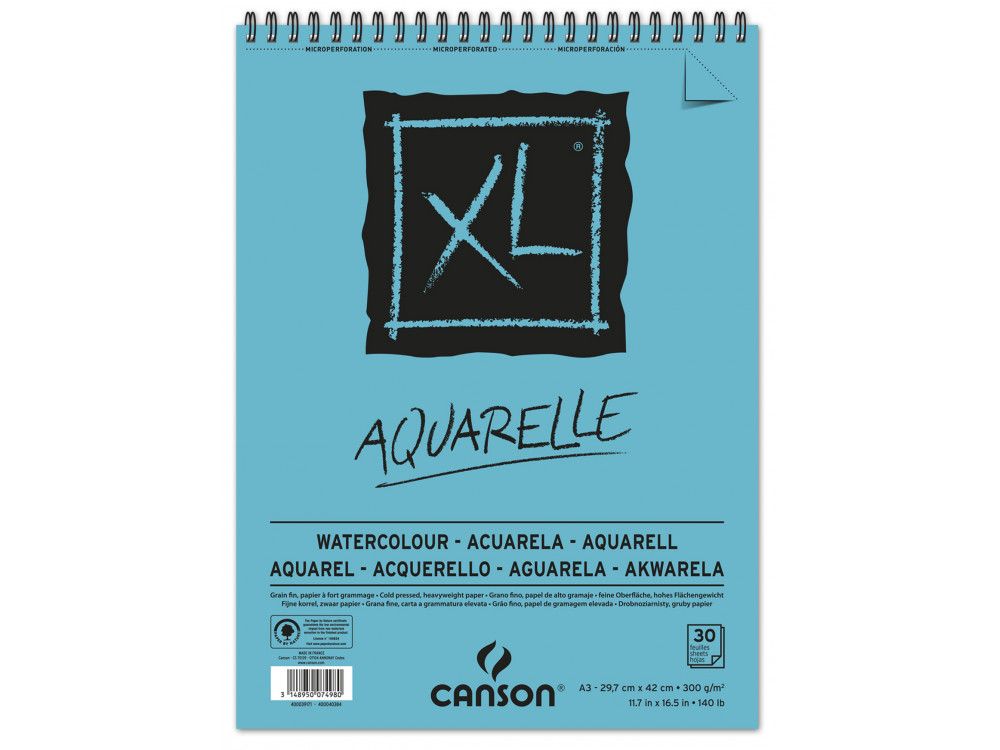 Canson A3 Watercolour pad including 10 sheets of white cold pressed watercolour paper