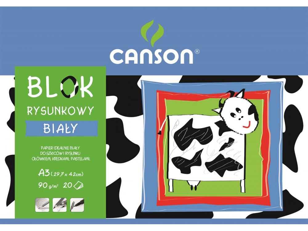 Blok rysunkowy A3 - Canson - biały, 90 g, 20 ark.