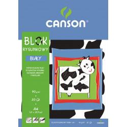 Blok rysunkowy A4 - Canson - biały, 90 g, 20 ark.