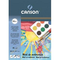 Blok do malowania A4 - Canson - biały, 120 g, 25 ark.