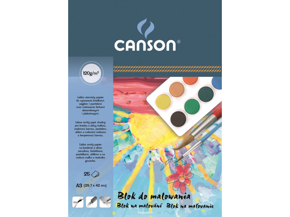 Blok do malowania A3 - Canson - biały, 120 g, 25 ark.