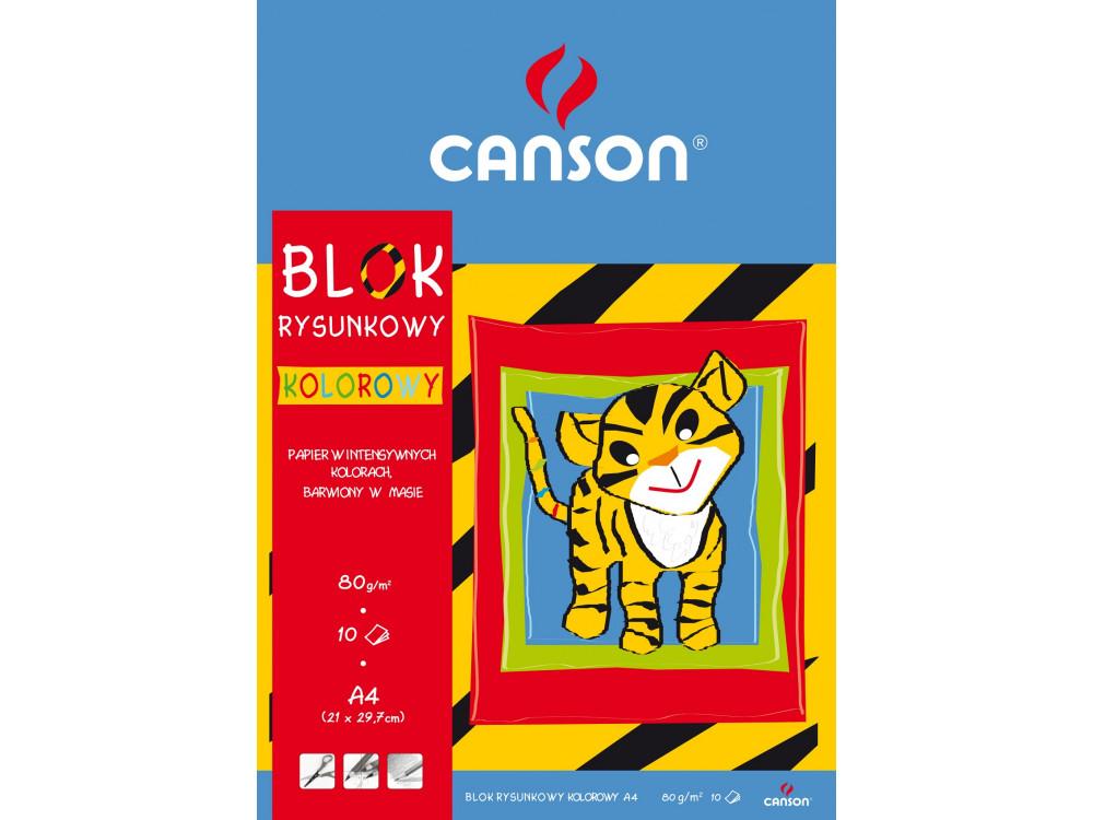 Blok rysunkowy A4 - Canson - kolorowy, 80 g, 10 ark.