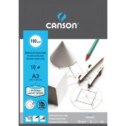 Blok techniczny A3 - Canson - biały, 190 g, 10 ark.