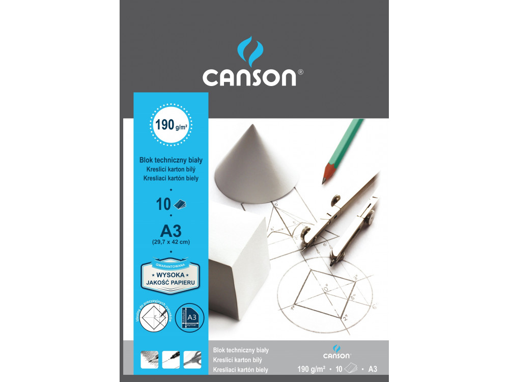 Drawing paper pad A3 - Canson - 190 g, 10 sheets