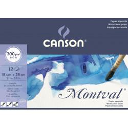 Blok do akwareli Montval 18 x 25 cm - Canson - cold press, 300 g, 12 ark.