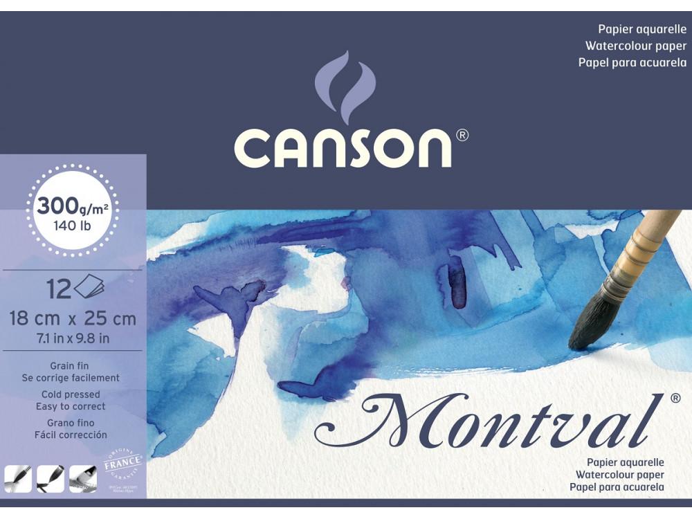 Blok do akwareli Montval 18 x 25 cm - Canson - 300 g, 12 ark.