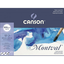 Watercolor drawing pad Montval 24 x 32 cm - Canson - 300 g, 12 sheets.