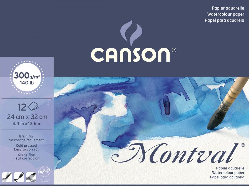 Blok do akwareli Montval 24 x 32 cm - Canson - 300 g, 12 ark.