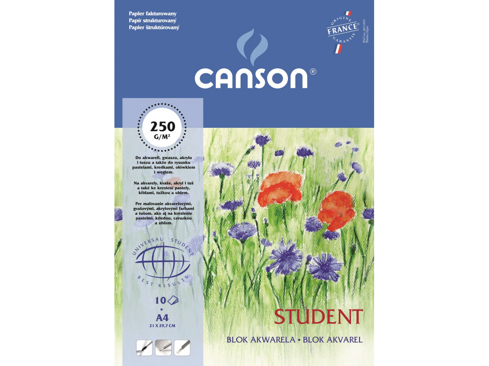 Watercolor drawing paper pad A4 - Canson - 250 g, 10 sheets
