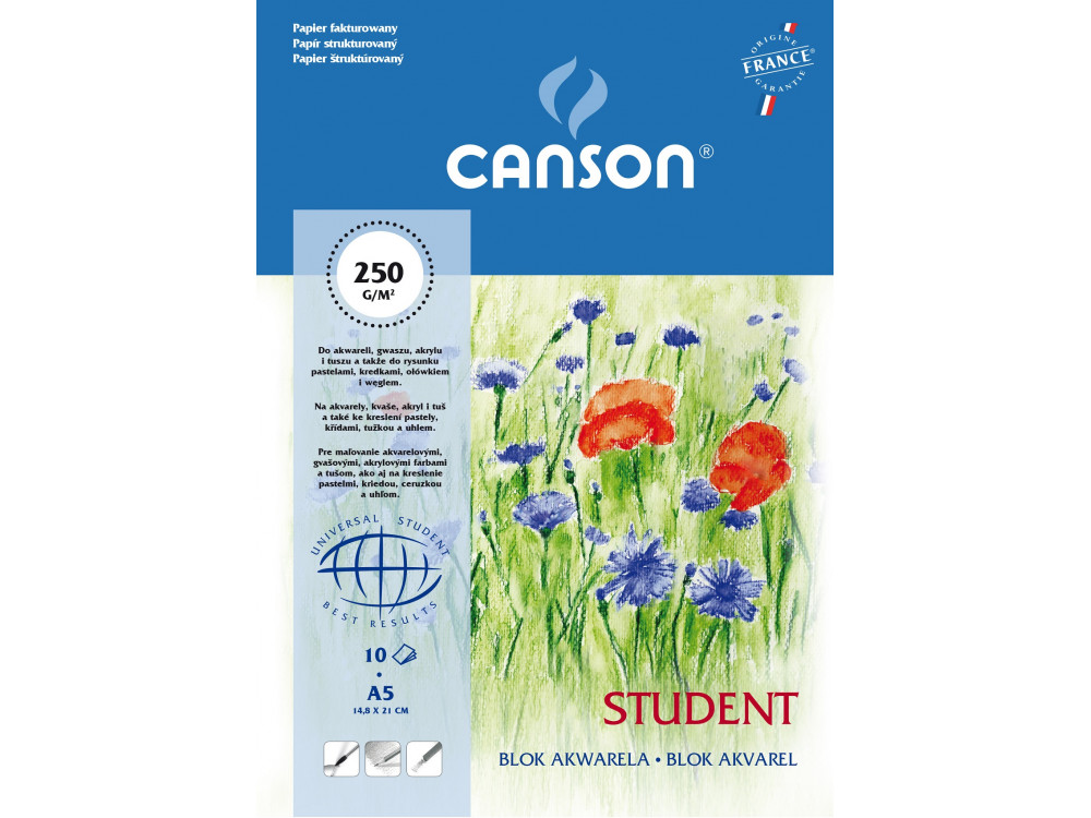 Watercolor drawing paper pad A5 - Canson - 250 g, 10 sheets