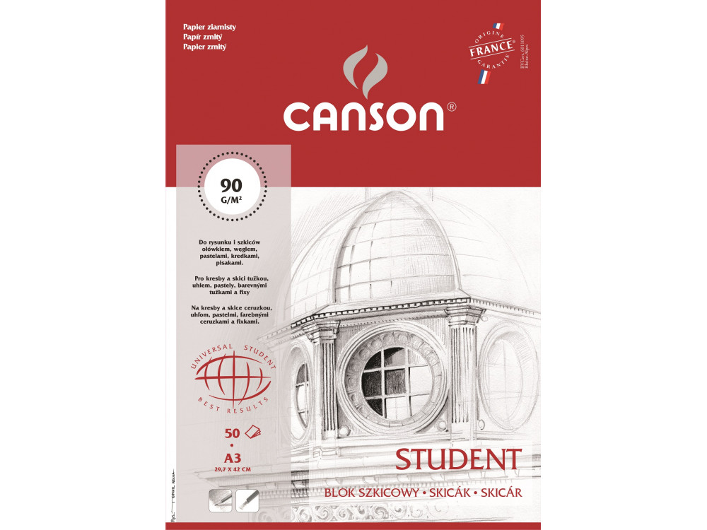Blok szkicowy Student A3 - Canson - 90 g, 50 ark.