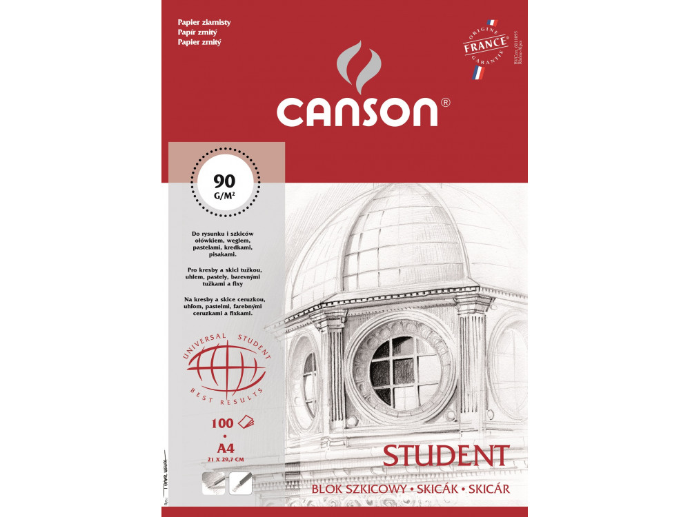 Blok szkicowy Student A4 - Canson - 90 g, 100 ark.