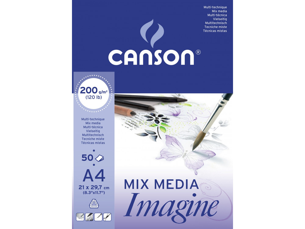 All-purpose drawing pad Mix Media A4 - Canson - 200 g, 50 sheets