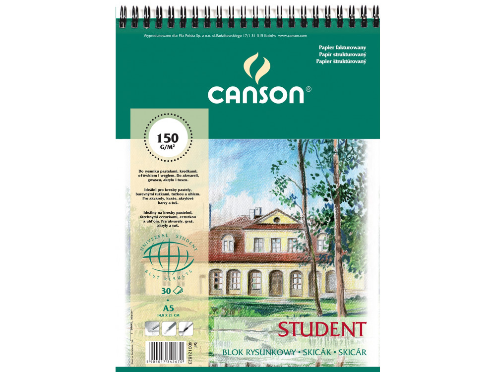 Drawing paper pad Student A5 - Canson - spiral-bound, 160 g, 30 sheets