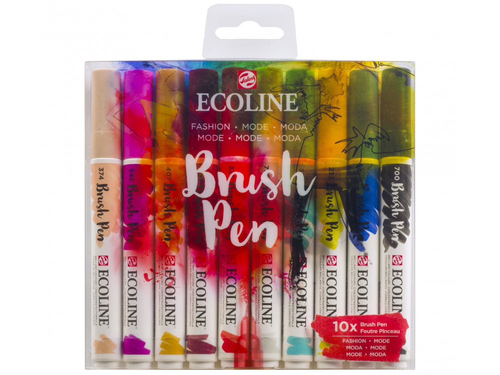 Brush Pen watercolor set Ecoline - Talens - Fashion, 10 colors