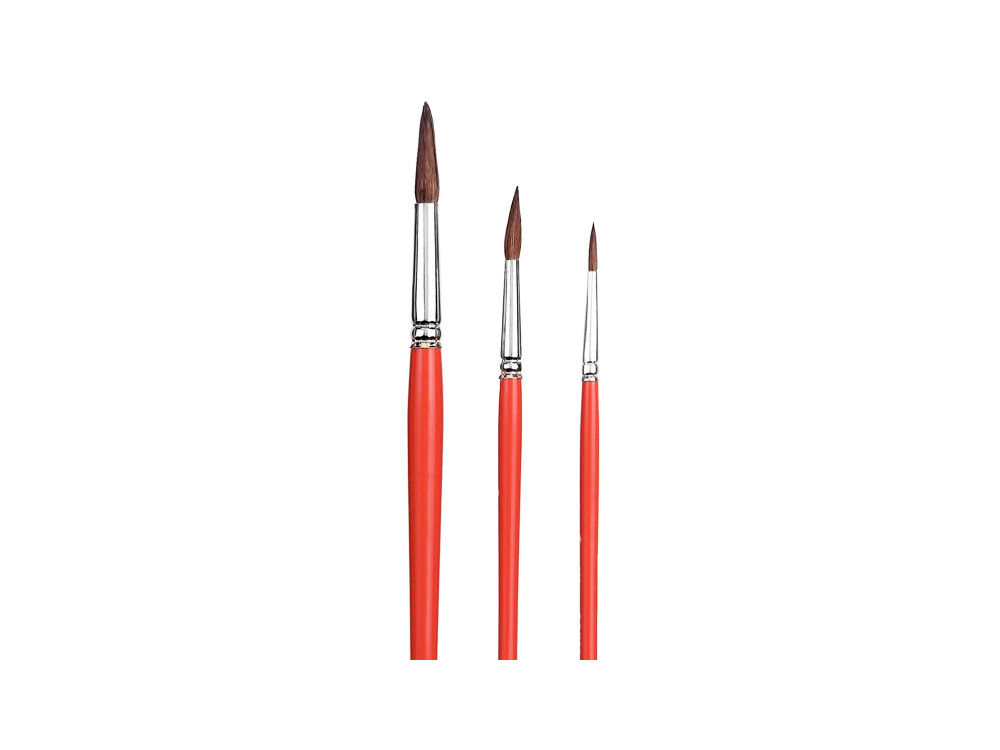 Set of round, natural brushes - Talens - watercolor, 3 pcs.