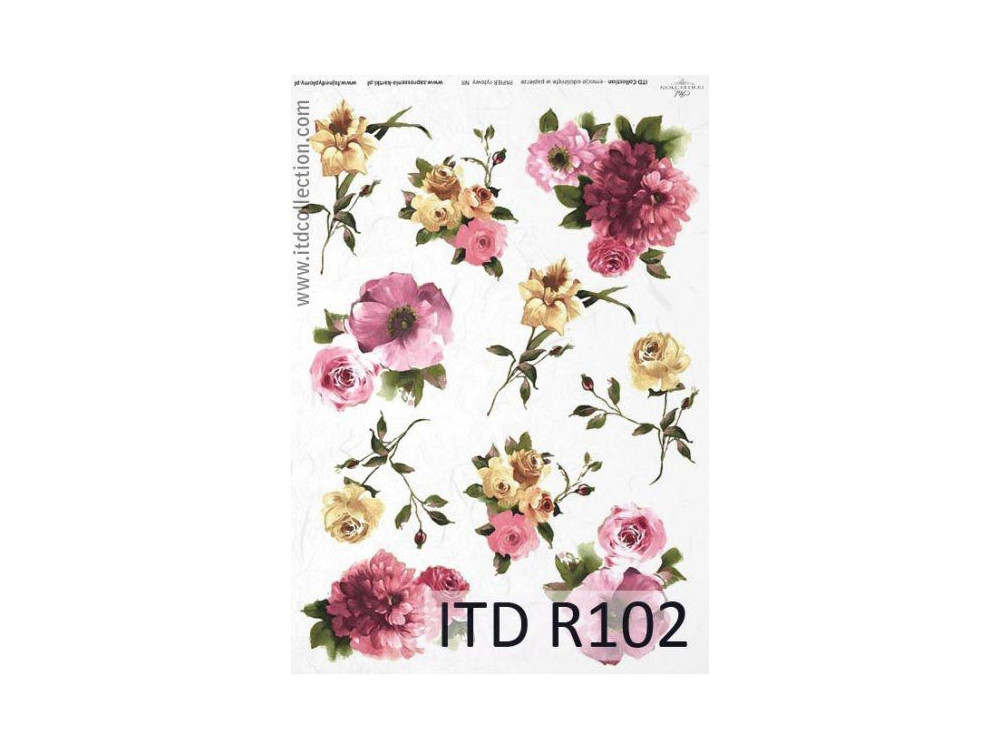Papier do decoupage A4 - ITD Collection - ryżowy, R102