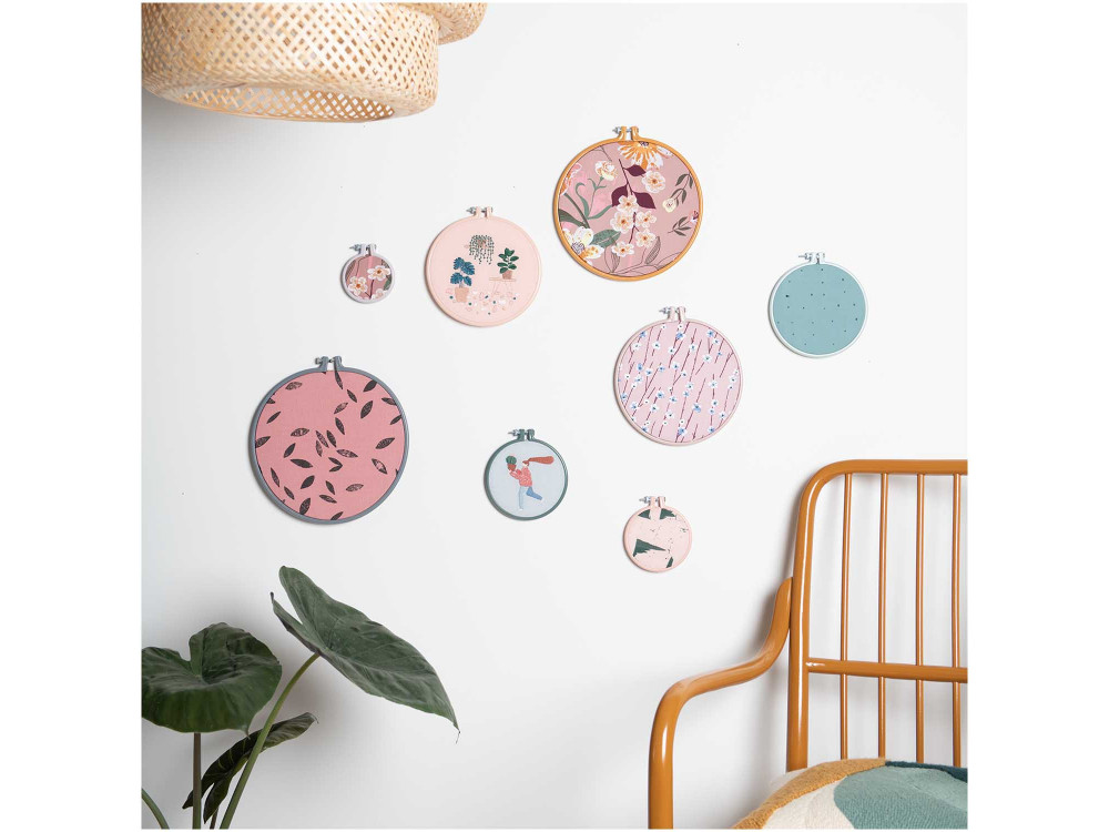 Embroidery plastic hoop, round - Rico Design - pink, 20,3 cm