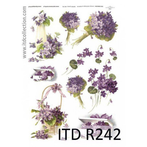 Purple Iris Flowers A4 ITD R389 Rice Paper for Decoupage Scrapbooking