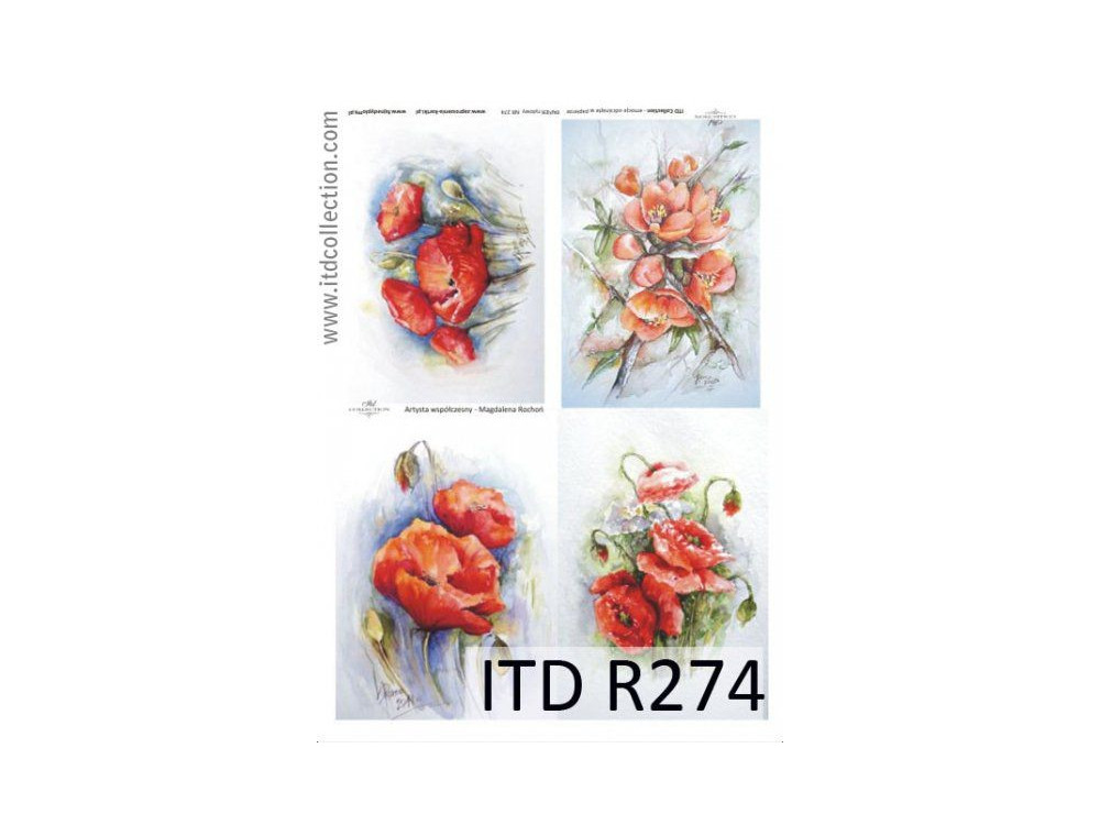 Papier do decoupage A4 - ITD Collection - ryżowy, R274
